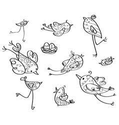 Birds contour vector