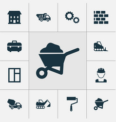 Building icons set collection of truck cement vector