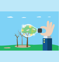Business hand holding lightbulb to see coins vector