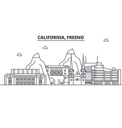 california fresno architecture line skyline vector image