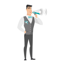 Caucasian groom talking into loudspeaker vector