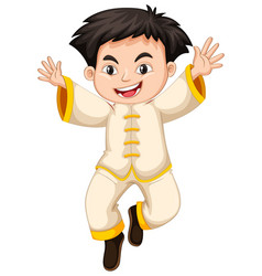 chinese boy in white costume vector image vector image