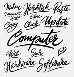 computer and update hand written typography vector image vector image