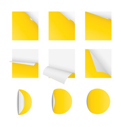 curved corner paper set yellow sticky vector image vector image