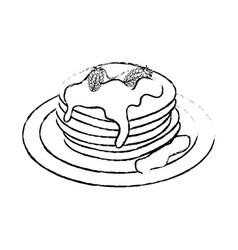 Delicious pancakes breakfast vector
