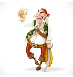 Drunken pirate with a glass of beer is based on vector