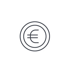euro coin currency thin line icon linear vector image vector image