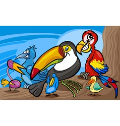 exotic birds group cartoon vector image vector image