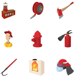Fire icons set cartoon style vector