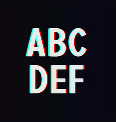 Font with TV Stereo Effect From A to F vector image vector image