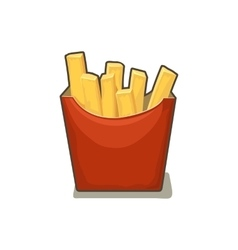 French fries potato in red paper box isolated on vector
