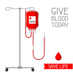 Give blood today save life medical and vector
