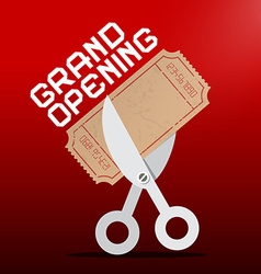 Grand Opening Scissors Cutting Ticket on Red vector image vector image
