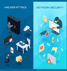 hacker vetrical isometric banners vector image vector image