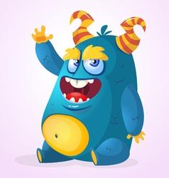Happy cartoon monster Halloween horned fat monster vector image