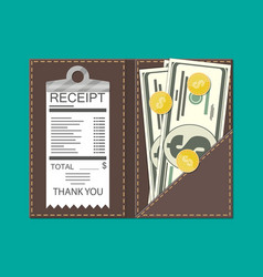 leather folder with cash coins and cashier check vector image vector image