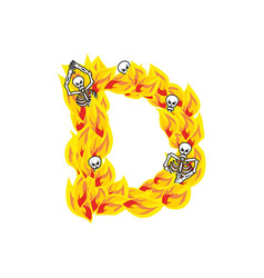 Letter d hellish flames and sinners font fiery vector