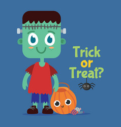 little-frankie-cute-halloween-style vector image