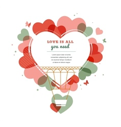 Love background - heart shape hot air balloon vector