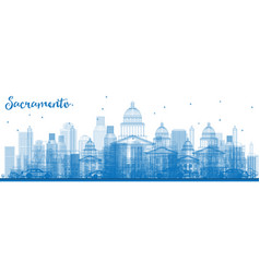 Outline sacramento skyline with blue buildings vector