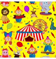 Seamless pattern circus with clown and animals vector