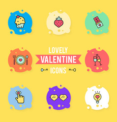 set of valentines day objects and icon vector image vector image