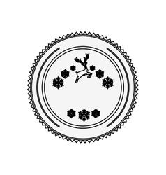 Silhouette circular border with snowflake vector