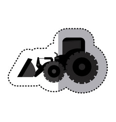 Sticker monochrome tractor loader building machine vector