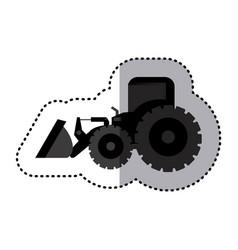 sticker monochrome tractor loader building machine vector image vector image