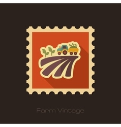 Tractor on field harvest seedling retro flat stamp vector