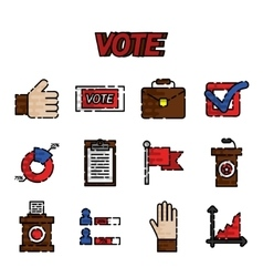 Vote flat icons set vector