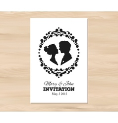 wedding invitation with profile silhouettes vector image vector image