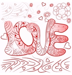 zentangle style abstract inscription love vector image