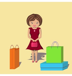 Happy woman after a lot of shopping vector