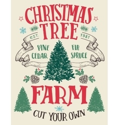 Christmas tree farm vintage sign vector image