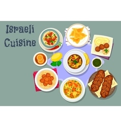 Israeli and jewish cuisine dinner dishes icon vector