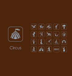 Set of circus simple icons vector