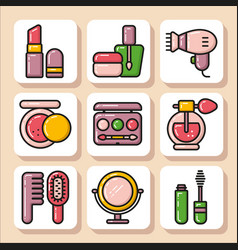 Icons of beauty cosmetics 1 vector