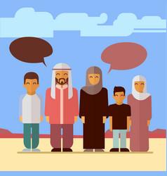 Flat arabic family social concept design vector