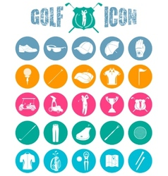 Colorful icons on of golf vector