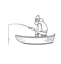 Fisherman silhouette in a boat on the white vector