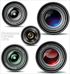 Professional camera lens - set vector