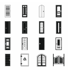 Doors icons set simple style vector