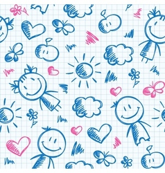 hand drawn kid pattern vector image