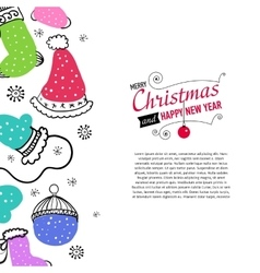 Post card with christmas doodles vector