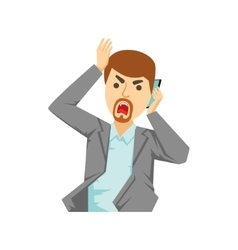 Angry office worker shouting at smartphone part vector
