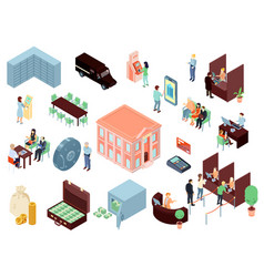 Bank elements isometric set vector