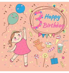 Birthday of the little girl 3 years vector image