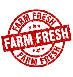 Farm fresh round red grunge stamp vector