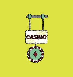 Flat shading style icon casino street banner vector